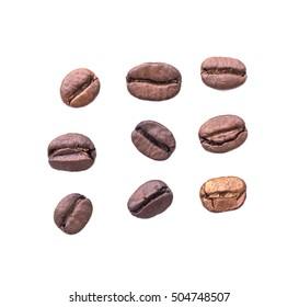 Coffee bean on white background