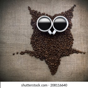 Coffee bean owl, Owl silhouette made with coffee beans on a coffee sack.