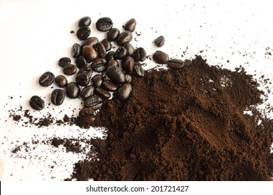 coffee bean and coffee powder for background usage