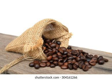 coffee bean in sack on white background