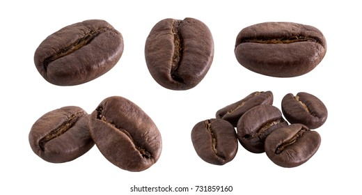 coffee bean set on white isolated