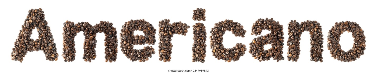 Coffee bean sort alphabetically. The word is americano. Which is the name of the menu is a drink of coffee. isolated on white background and clipping path.