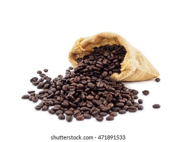 Coffee bean spill form sack isolated on white background