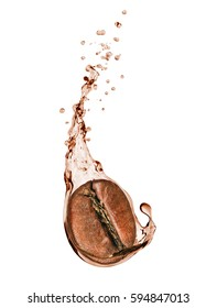 Coffee bean with a coffee splash on white background
