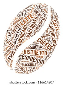Coffee bean in words arrangement graphic illustration