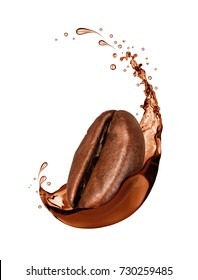 Coffee bean wrapped in coffee splash close-up, isolated on white background