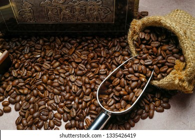 Coffee beans after roast process