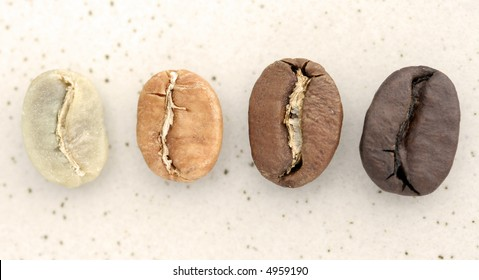 Coffee Beans from around the world - Close-up on stone background