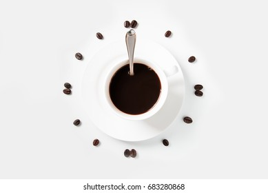 Coffee beans arranged on a white background., isolated on white background, Time fo Coffee