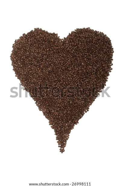 Coffee beans arranged in the shape of a heart