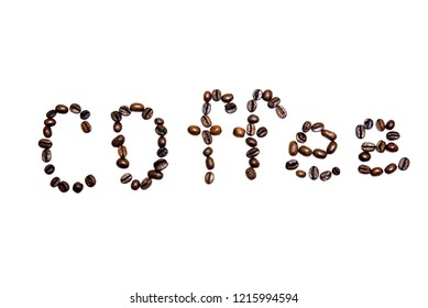 Coffee beans arranged in words--coffee