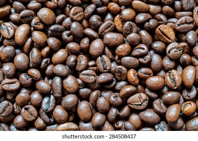 Coffee beans in the background
