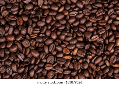 Coffee beans as background close up