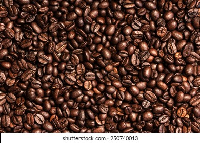 Coffee Beans Background. Close Up.