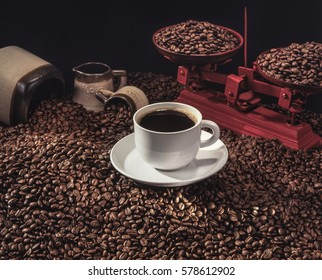 Coffee beans. Coffee background to feel the richness of its flavor