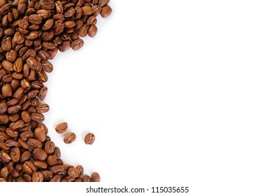 Coffee beans background isolated on white with text space