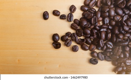 Coffee beans background top view with copy space. Vintage filter applied.