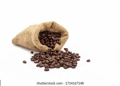 Coffee beans in bag isolated on white background.