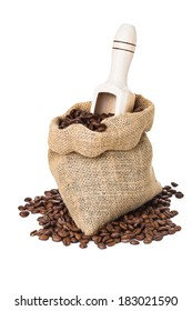 coffee beans in bag isolated over white