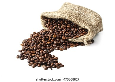 Coffee beans in bag on white isolated background