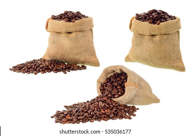 Coffee beans in bag on white background with clipping path
