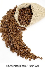 coffee beans in the bag on white background