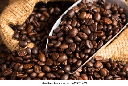 Coffee beans with bag still life shot and vintage style