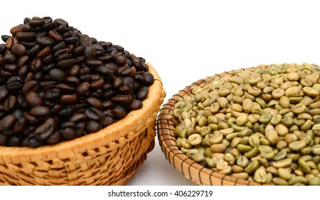 coffee beans in basket isolated in white background