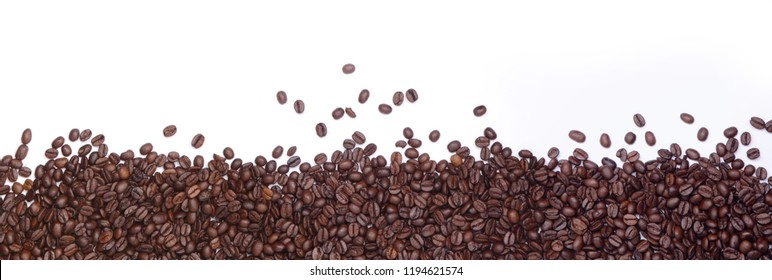 coffee beans, border on a white background