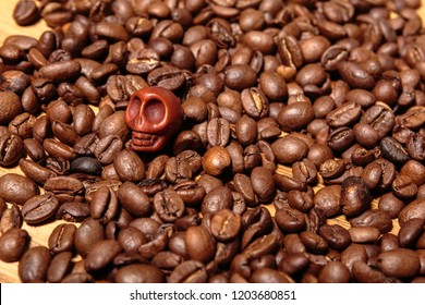Coffee Beans and Brown Skull