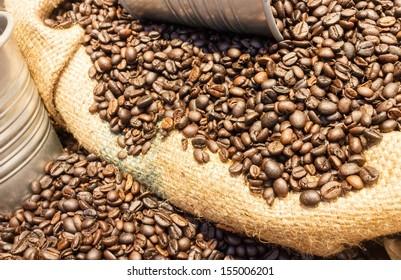 coffee beans in burlap bag