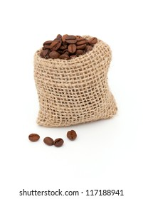 coffee beans in burlap bag isolated on white background
