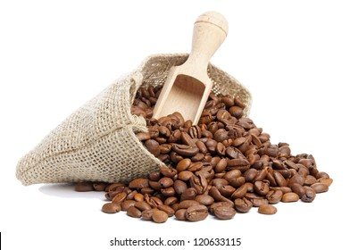 Coffee beans in burlap sack / Coffee Beans