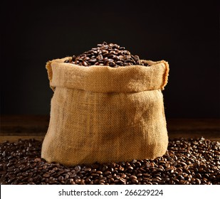 Coffee beans in burlap sack, This photo is available with smoke