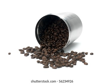 Coffee beans in a canister isolated against a white background