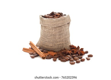 Coffee beans in a canvas bag on a white background