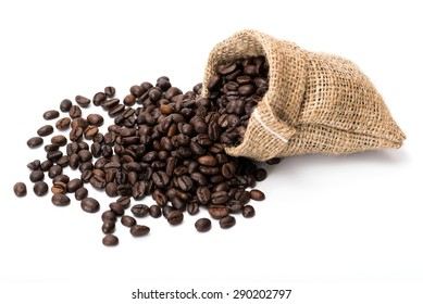 Coffee beans in canvas sack.