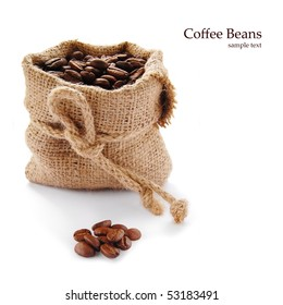 Coffee beans in canvas sack