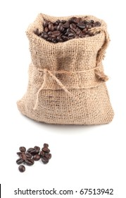 Coffee beans in canvas sack on white background