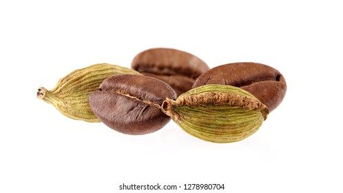 Coffee beans with cardamon isolated on white background