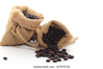 Coffee beans with clear coffee bags