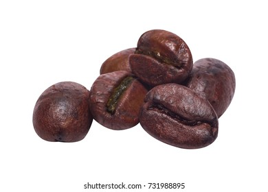 The coffee beans close up  isolated on white background