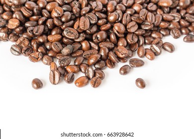 coffee beans close up on  white background.