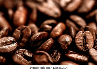 Coffee beans , close up photo