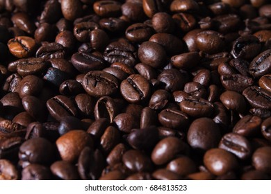 Coffee beans, close up.
