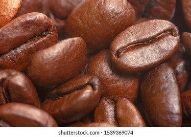 Coffee beans in close up view. Coffee background. Soft focus view.