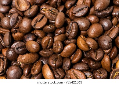 coffee beans close-up, background, horizontal