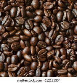 Coffee beans closeup background seamless texture