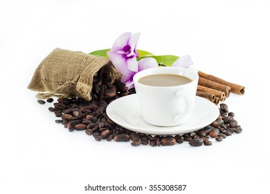 Coffee Beans and Cocoa Beans in bag , Flower , cinnamon and coffee cup Isolate on White background