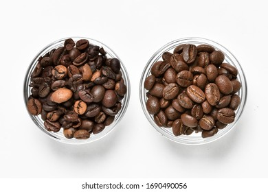 Coffee beans comparison. Comparison of quality coffee beans from roasters and poor quality - different colored, large, broken coffee beans. Coffee beans on white background in two glass bowls.
